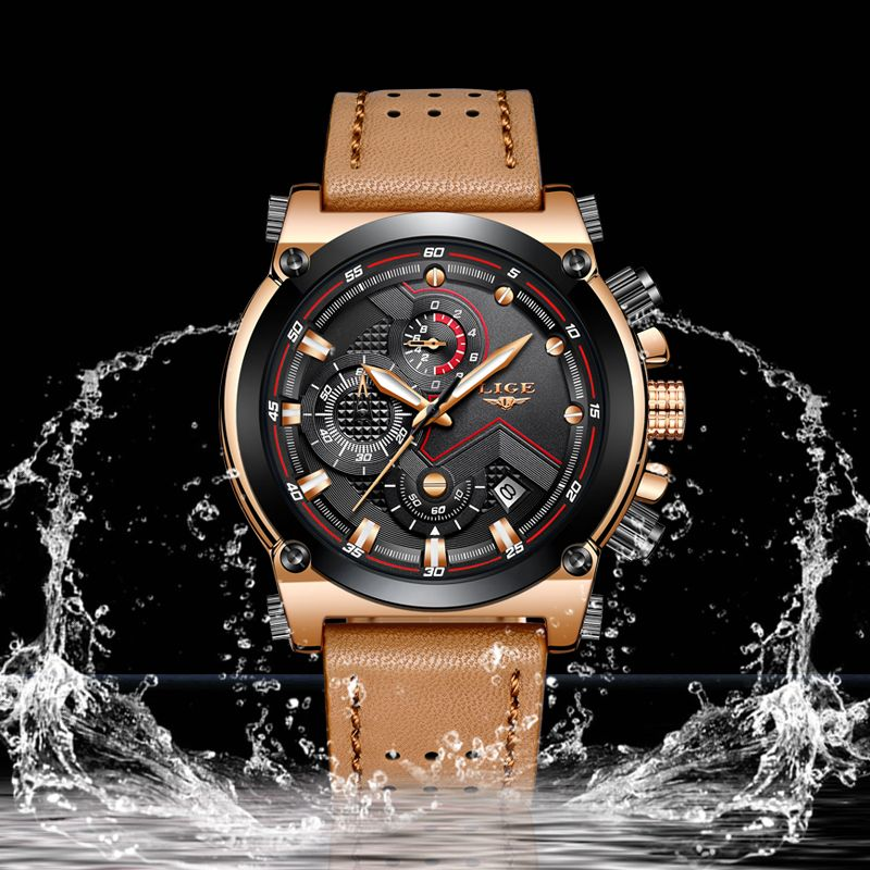 Military Watch sports Men's Watchs 2018 LIGE Top Brand Luxury Quartz Chronograph Leather Waterproof Wristwatch Relogio Masculino