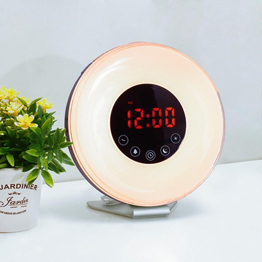Aimecor New Sunrise Simulation Alarm Clock LED Screen High Quality with FM Radio for Home Office Drop Shipping ap906
