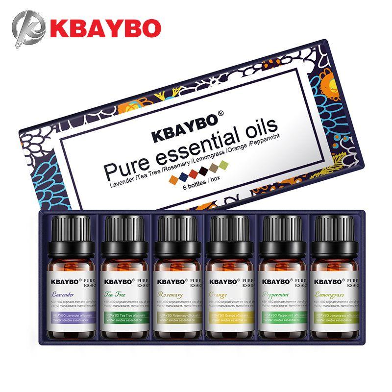 Huiles essentielles aromathérapie huile pour diffuseur humidificateur 6 sortes parfum de lavande, arbre à thé, romarin, citronnelle, Orange