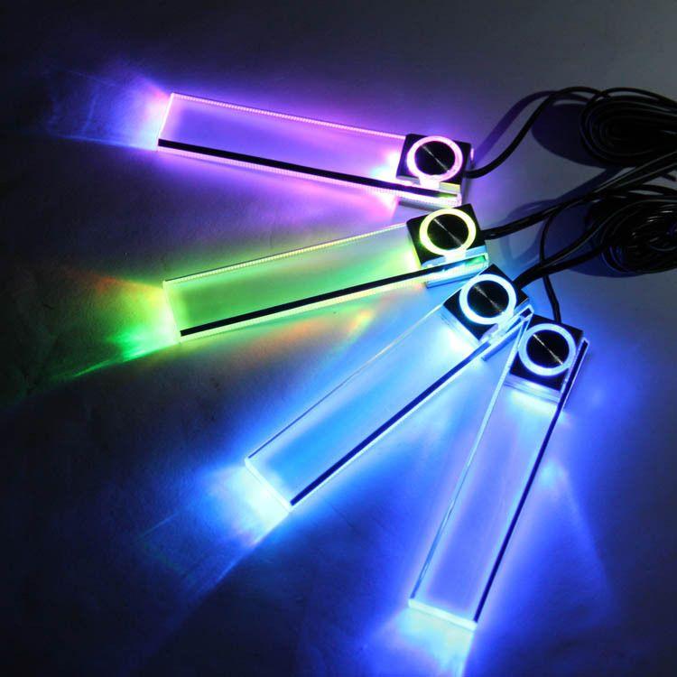 4 LED Цвет Рождество авто Интерьер Даш Этаж украшения для ног свет лампы Авто-прикуриватели