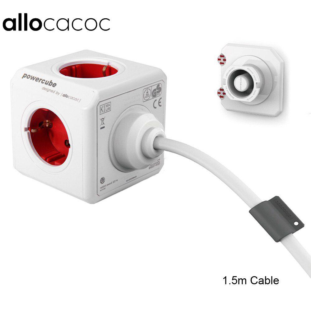 Allocacoc Étendu Cube Socket UE DE Plug 5 Sorties Adaptateur avec 1.5 m/3 m Câble Extension Adaptateur Multi switched Socket