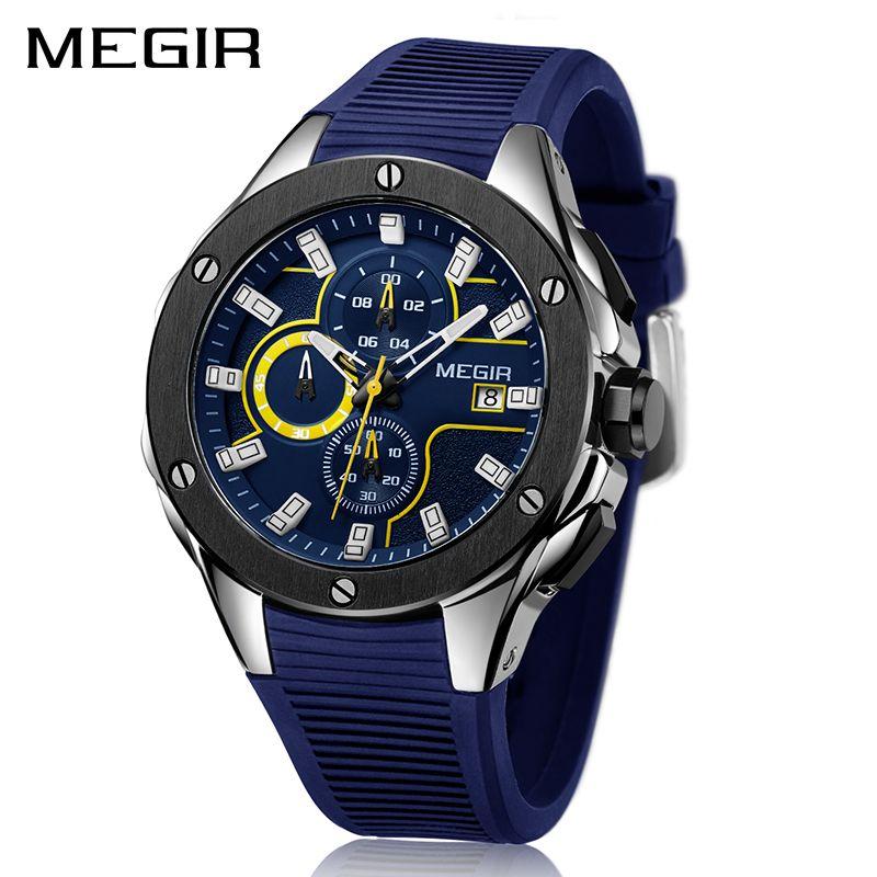MEGIR hommes Sport montre chronographe Silicone bracelet Quartz armée militaire montres horloge hommes haut marque de luxe mâle Relogio Masculino