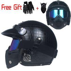 Negro adulto de la cara abierta medio casco de cuero Harley Moto motocicleta vendimia del casco
