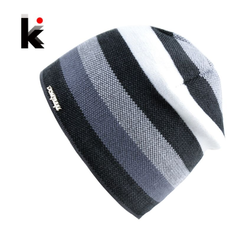 2017 Men's Skullies Hat Bonnet Winter Beanie Knitted Wool Hat Plus Velvet Cap Thicker Stripe Skis Sports Beanies Hats for men