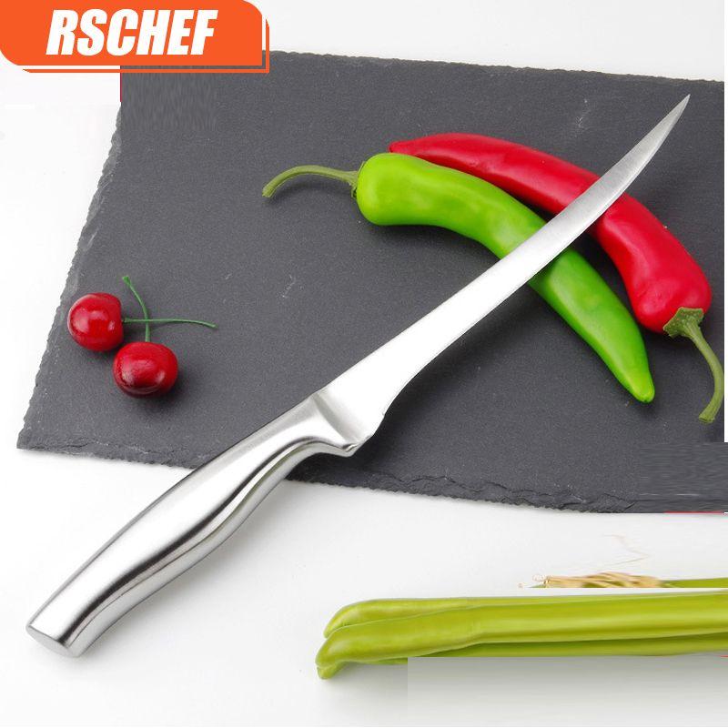 RSCHEF couteau de filet de cuisine en acier inoxydable de qualité 7 pouces couteau de Sculpture de poisson éviscéré couteau de désossage de Style japonais