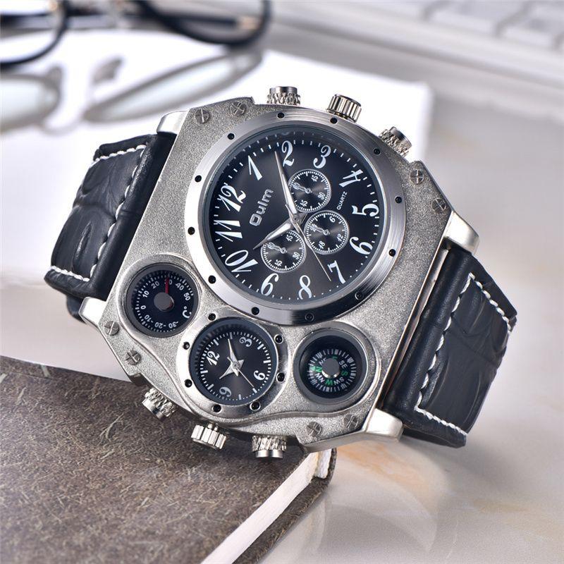 Oulm 1349 New Sport Montres Hommes Super Grand Grand Cadran Mâle Horloge À Quartz Décoratif Thermomètre Boussole De Luxe Hommes de Poignet montre