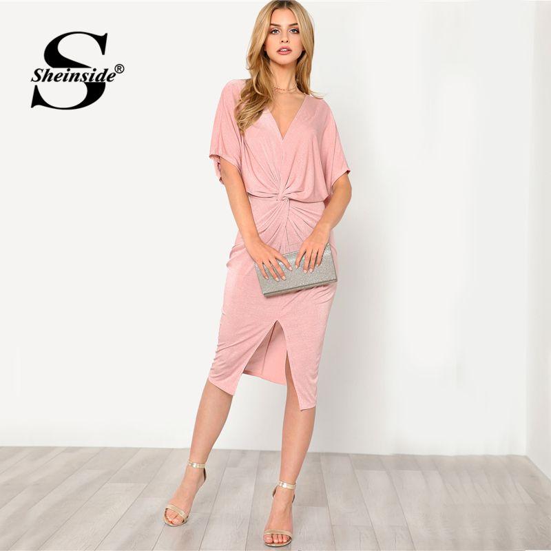 Sheinside Pink V-Neck Twist Front Dress Plain V Neck High Waist Half Sleeve Dress 2018 Summer Women OL <font><b>Work</b></font> Elegant Dress
