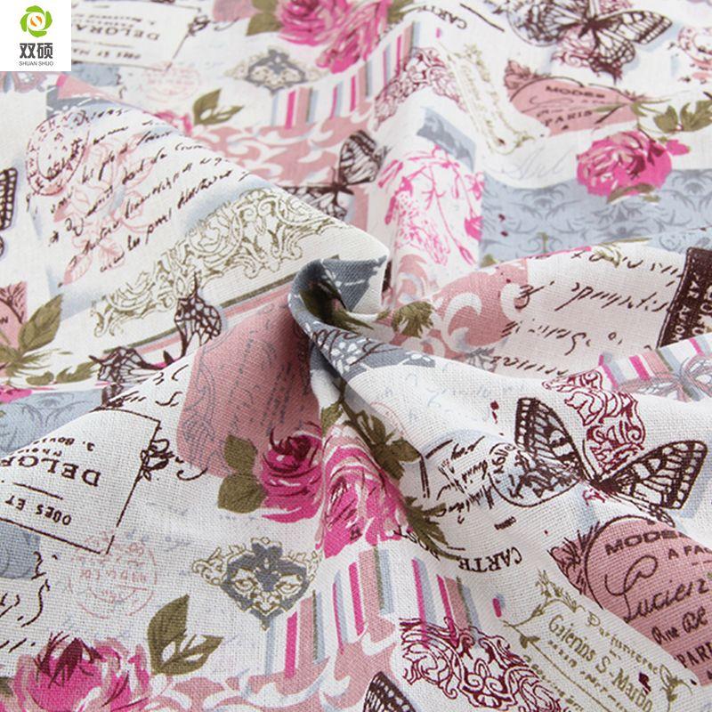 Offre spéciale Rétro Papillon Rose tissus De Lin Nappes tissu coussin oreiller linge tissu 145*50 cm A1-1-M1