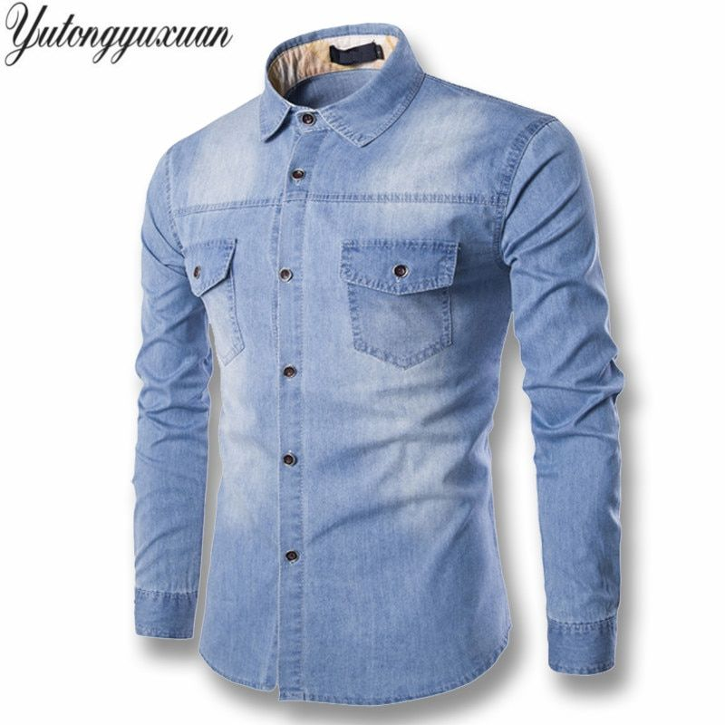 2017 Full Solid Regular Selling Yutongyuxuan Light Denim Shirt Men 100% Cotton Thick Male Long Sleeve <font><b>Cool</b></font> Brand Clothing M-6xl