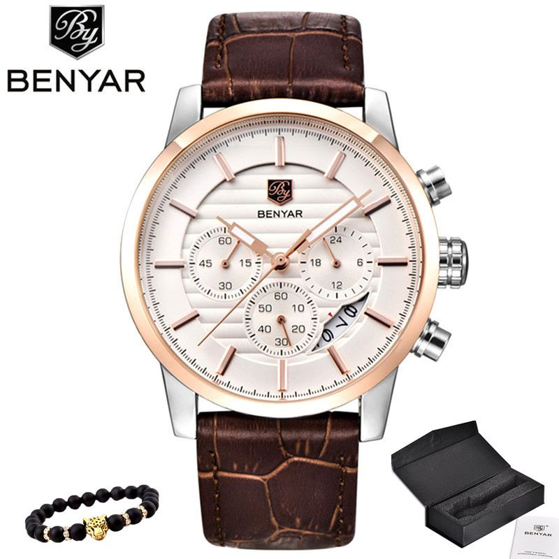 BENYAR Men Watch Top Brand Luxury Quartz Watch Mens <font><b>Sport</b></font> Fashion Analog Leather Strap Male Wristwatch New Waterproof Clock xfcs