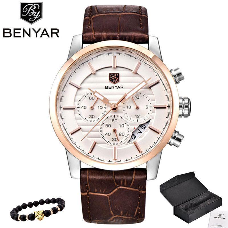 BENYAR Men Watch Top Brand Luxury Quartz Watch Mens Sport Fashion Analog Leather Strap Male Wristwatch New Waterproof Clock xfcs