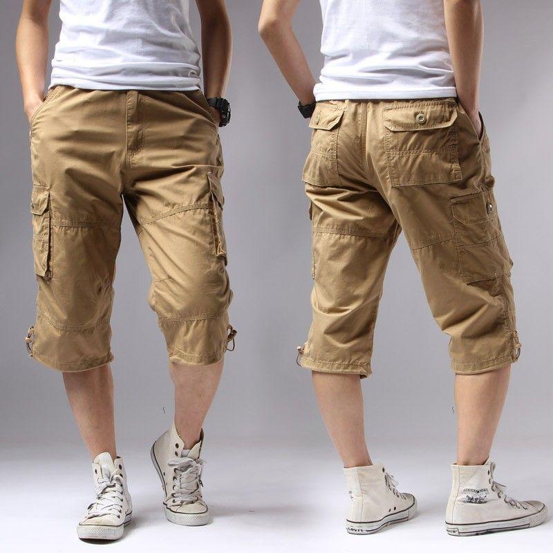 ICPANS Shorts décontracté és poches solides régulières kaki noir coton Shorts hommes Cargo Shorts hommes armée hommes Shorts
