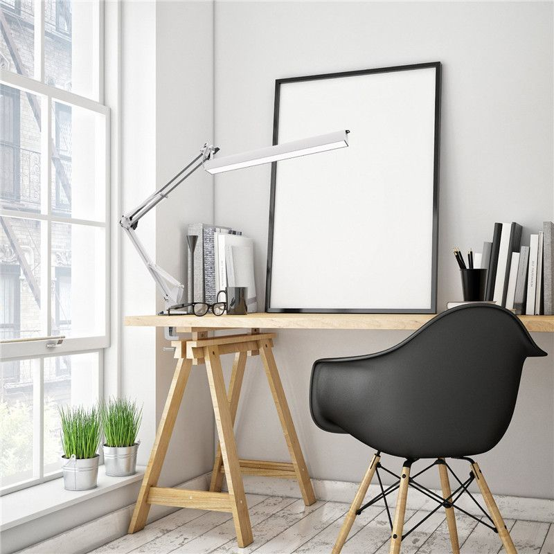 YOUKOYI A16 USB LED Desk Lamp 220V with Clip 3 Level Dimmer Drafting Table Light Swing Arm Architect Study Lamp Eye-caring White