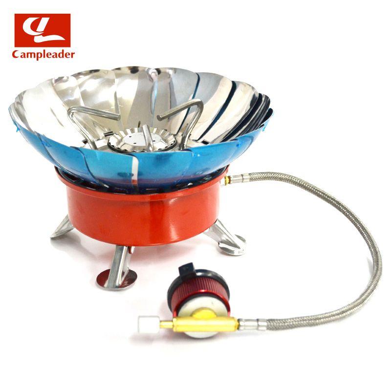 Cuisinière coupe-vent cuisinière ustensiles de cuisine brûleurs à gaz pour Camping pique-nique cuisson barbecue avec tuyau prolongé 4 type cuisinière à gaz en plein air CL045
