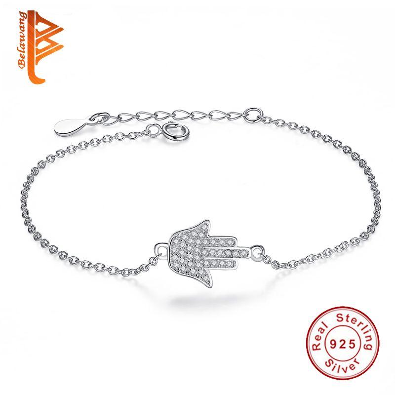 À la mode Réel 925 Sterling Argent Main de Fatima Amitié Bracelet de Hamsa de Paume de Cristal Lien Chaîne Bracelet Pour Femmes Bijoux Cadeau