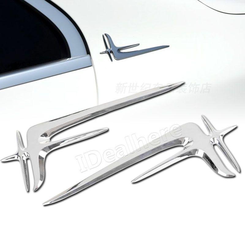 Haute qualité 2 pièces argent ABS voiture gauche côté droit aile emblème Badge Auto autocollant de carrosserie pour Mercedes Benz