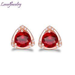Triilion Bentuk Elegan Natural Ruby Pertunangan Stud Anting-Anting Solid 18 K Mawar Emas Berjanji Perhiasan Berlian untuk Istri Ulang Tahun