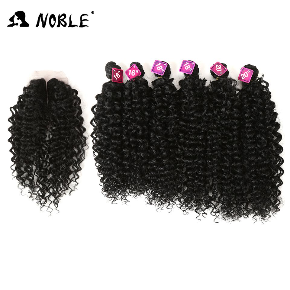 Noble Synthetic Hair Weaving Black 16-20 inch 7Pieces/lot Afro Kinky Curly Hair Bundles With Closure African lace For Women