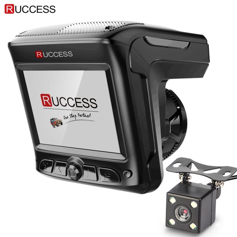 D'origine Ruccess 3 dans 1 Radar Dvr FHD 1296 p Intégré GPS Détecteur De Voiture Double lentille Voiture Caméra Anti Radar détecteur Russe Speedcam