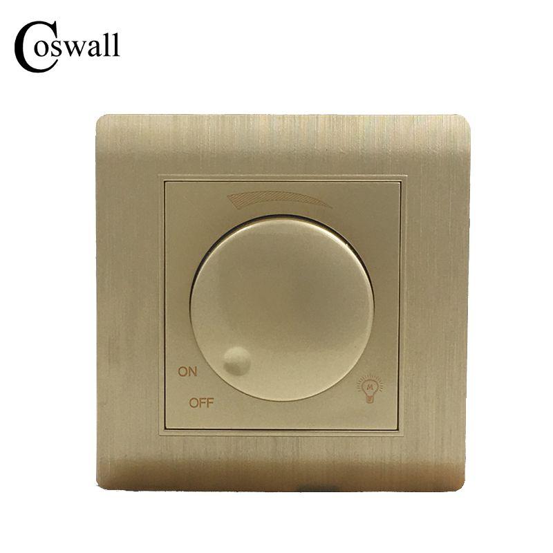 Livraison Gratuite COSWALL De Luxe Mur Interrupteur Gradateur Contrôleur Champagne Or AC 110 ~ 250 V C31 série