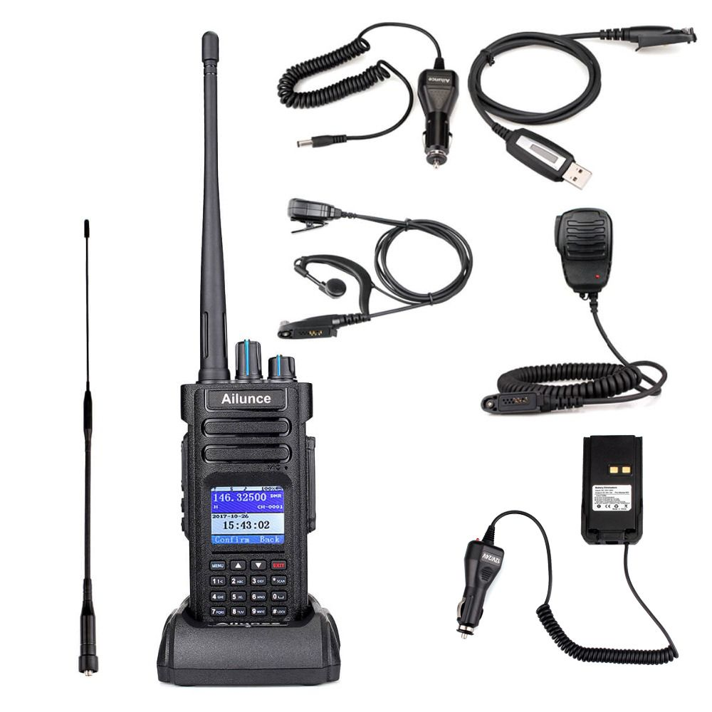 Retevis Ailunce HD1 Dual Band DMR Digital Walkie Talkie DCDM TDMA VHF UHF Ham Radio Hf Transceiver + Accessories