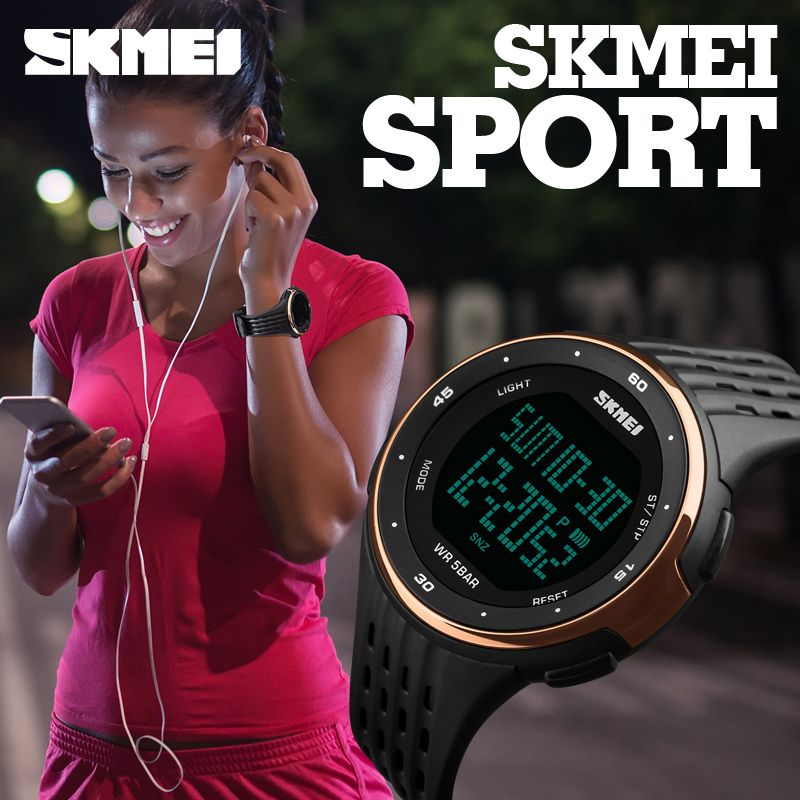 SKMEI Luxury Brand Women LED Digital Watches 50m <font><b>Waterproof</b></font> Military Sport Watches For Men Fashion Silicone Women Wristwatches