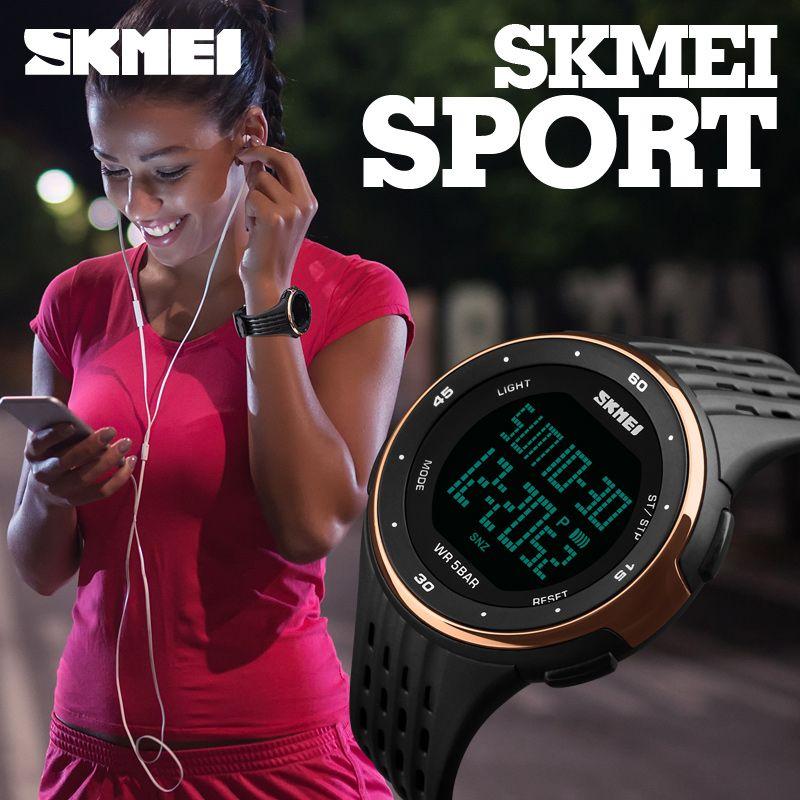 SKMEI Marque De Luxe Femmes LED Numérique Montres 50 m Étanche Sport Militaire Montres Pour Hommes Mode Silicone Femmes Montres