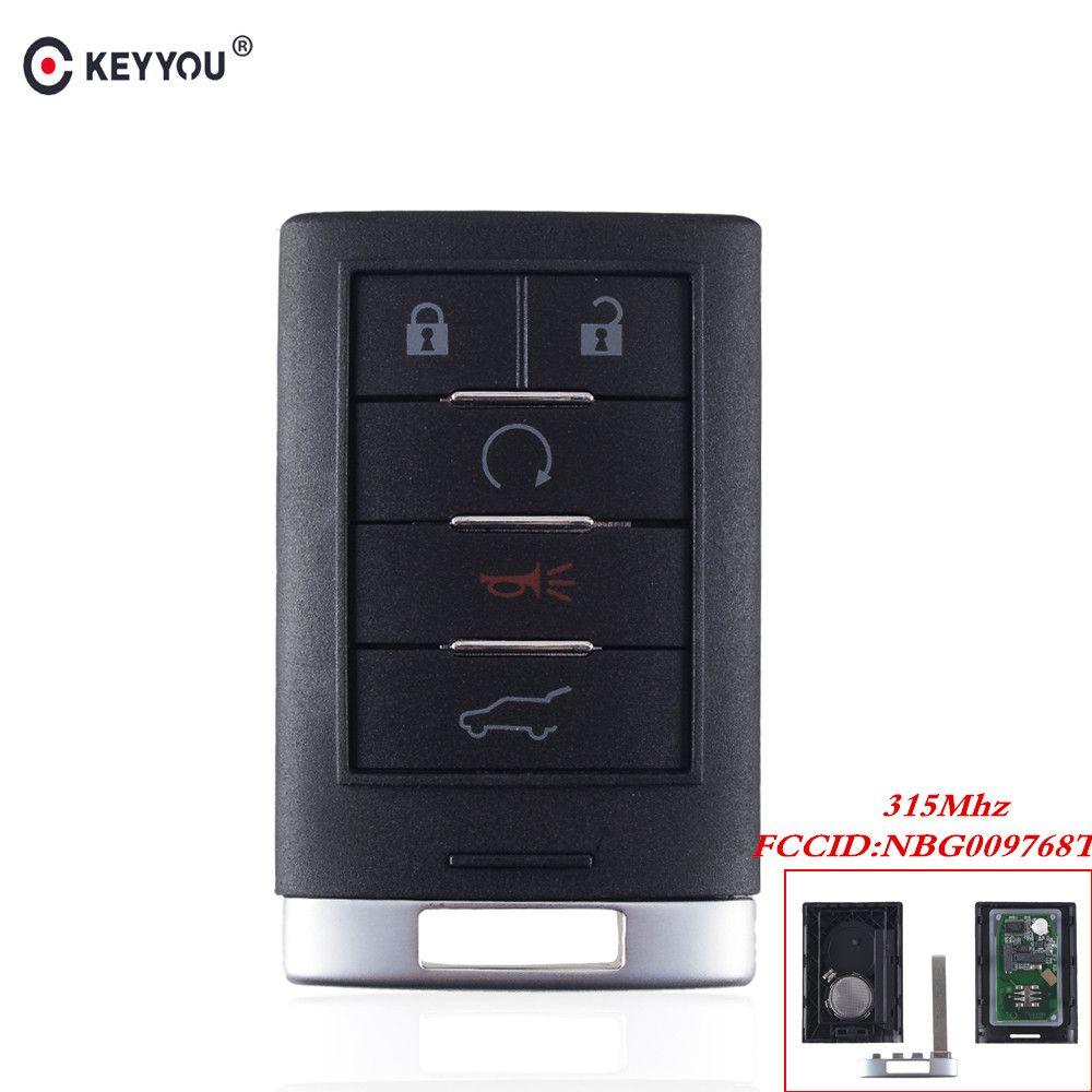 KEYYOU For Cadillac SRX 2010 2011 2012 2013 2014 keyless Entry Car Key NBG009768T 5 Buttons Remote Car Key 315MHZ