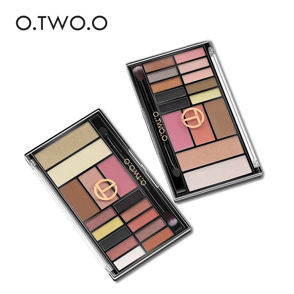O.TWO.O 15Colors/pc Palette Eyeshadow Long-lasting Waterproof Easy to Wear Highlighter Glitter Blush Contour Palette With Brush