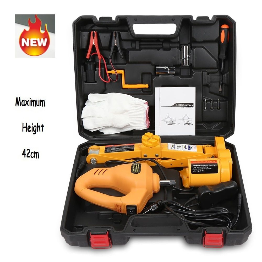 12V Car Electric Hydraulic Floor Jack Lifting Set Impact Wrench Tool Built-in Flash LED Light for Emergency Tire Repair