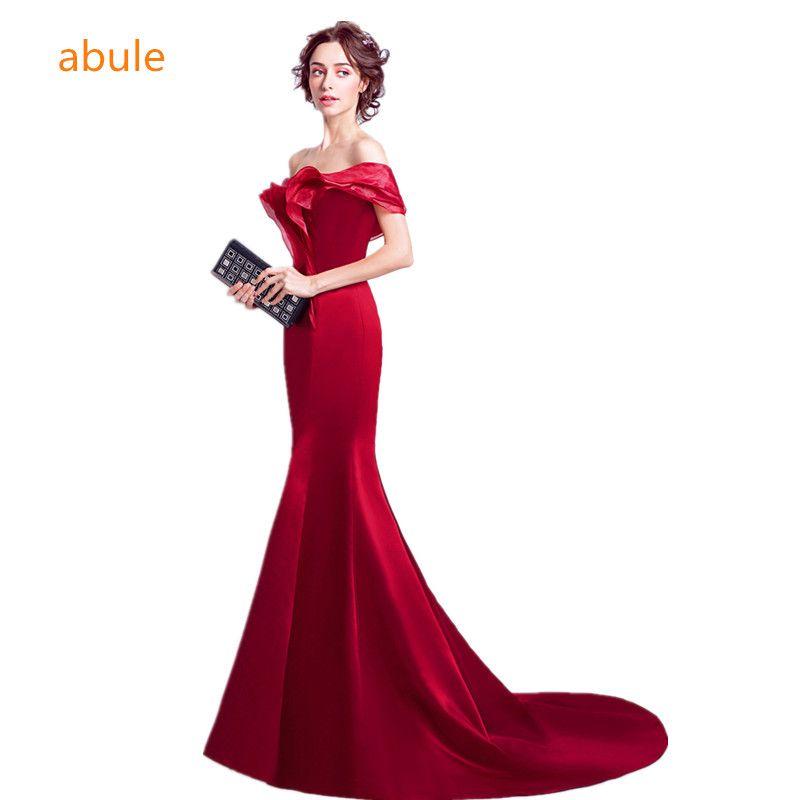 abule Red wine long Evening Dresses Formal Evening party evening dresses Long dress mermaid elegant Vestido de Festa