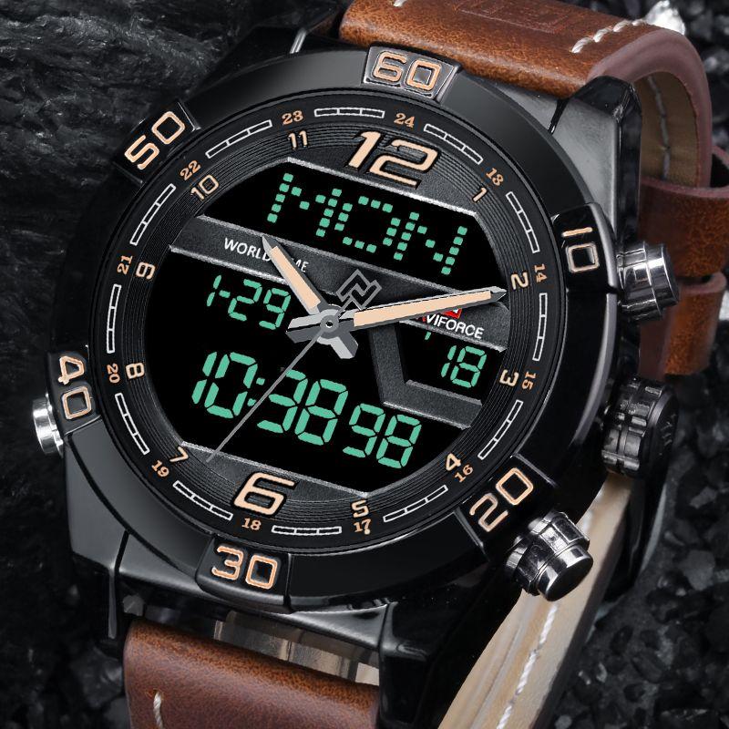 <font><b>NAVIFORCE</b></font> Luxury Men WatchBrand Fashion Sports Watches Men's Waterproof Quartz Date Clock Man Leather Army Military Wrist Watch