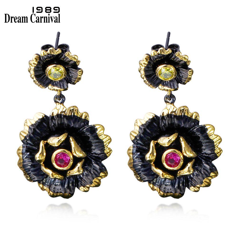 DC1989 Beautiful Sunflower Vintage earrings Black Gold Plated Multi Cubic Zirconia Brass Lead free Ladies Drop earrings ZE52817
