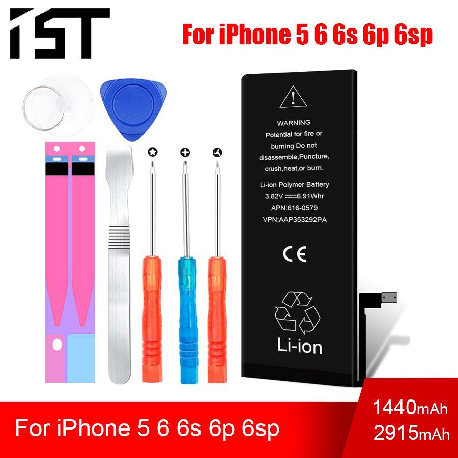 Batterie de téléphone portable d'origine 100% IST pour iPhone 6 6s Plus 5 batterie capacité réelle avec Kit d'outils de réparation et autocollant de batterie