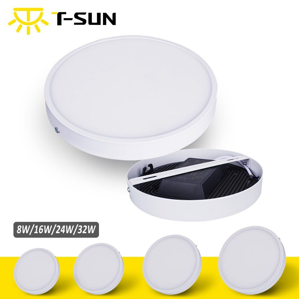T-SUNRISE Ultra-thin 8W/16W/24W/32W Round Square Panel LED Aluminum LED Panel Light Surface Mounted Downlight ceiling down lamp