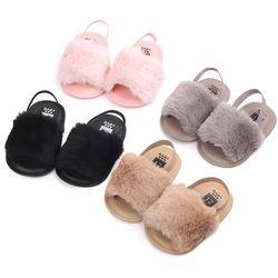 2018 nueva moda Faux Fur zapatos del verano del bebé lindo bebé infantil zapatillas Sandalias