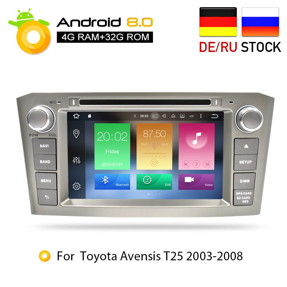 4G RAM Android 8.0Car DVD <font><b>Stereo</b></font> Multimedia Headunit For Toyota Avensis/T25 2003-2008 Auto Radio GPS Navigation Video Audio