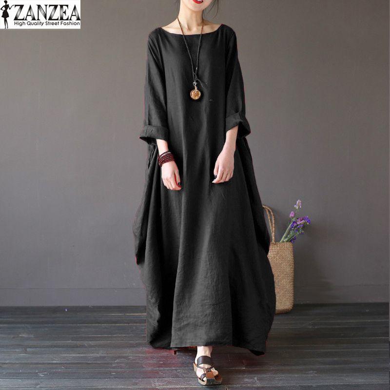 ZANZEA Oversize Womens Retro 3/4 Sleeve Baggy Maxi Long Robe Ladies Casual Party Tunic Shirt Dress Kaftan Solid Vestido