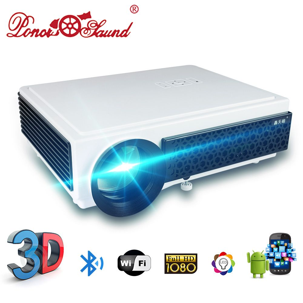 Poner Saund LED96+ Projector 3D Home Theater <font><b>Optional</b></font> Android WIFI 100inch screen AS GIFT LCD Proyector Full HD 1080P HDMI VGA