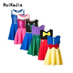 Pakaian Perempuan Salju Putih Putri Gaun Pakaian Anak-anak Pakaian Belle Moana Mickey Minnie Gaun Ulang Tahun Gaun Mermaid Kostum