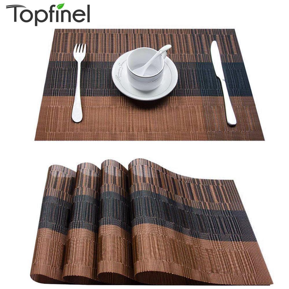 Topfinel lot de 4 napperons en plastique PVC bambou pour salle à manger chemin de Table linge de Table tapis de Place dans les accessoires de cuisine tasse tapis de vin