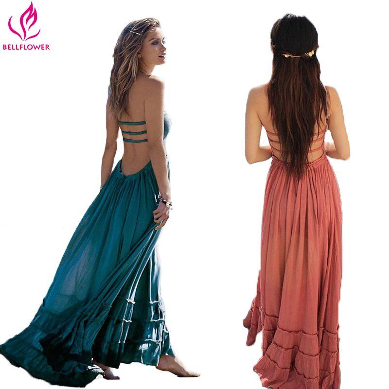 BellFlower robe d'été femmes bohème sans manches personnes Sexy Boho robes dos nu fête Hippie Bandage robe de plage Vestidos
