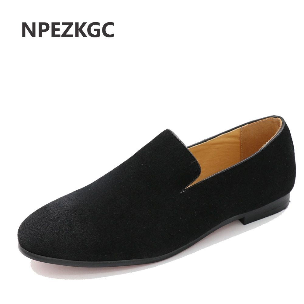 Npezkgc британский стиль модные замшевые из искусственной кожи мужские лоферы без шнуровки Мужские туфли для вождения мужские лодка Туфли без ...