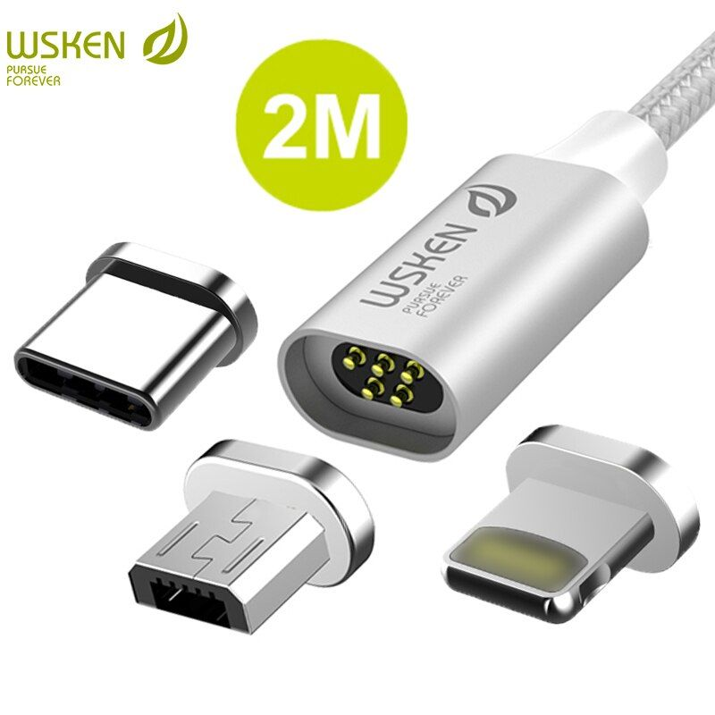 WSKEN lite 2 USB Type C Micro USB Cable Fast Charging Data Magnetic Cable for iPhone Charger Cable USB C Type C USB-C Cable