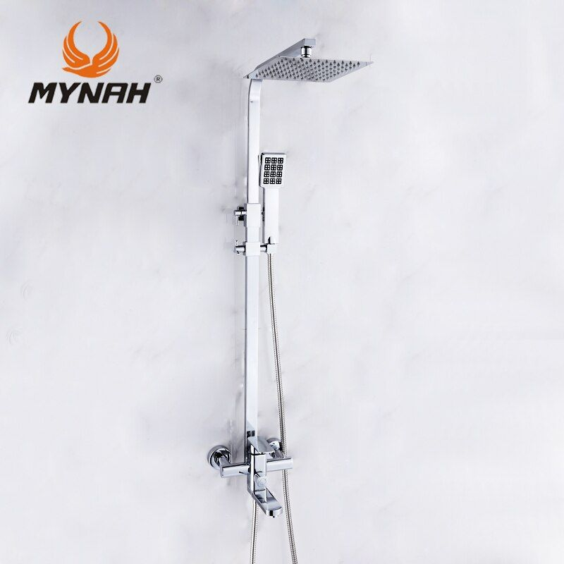 MYNAH Wall Mount Rainfall Shower Head +Hand shower Luxury Shower Faucet Mixer Hand bathroom shower set tap 3304