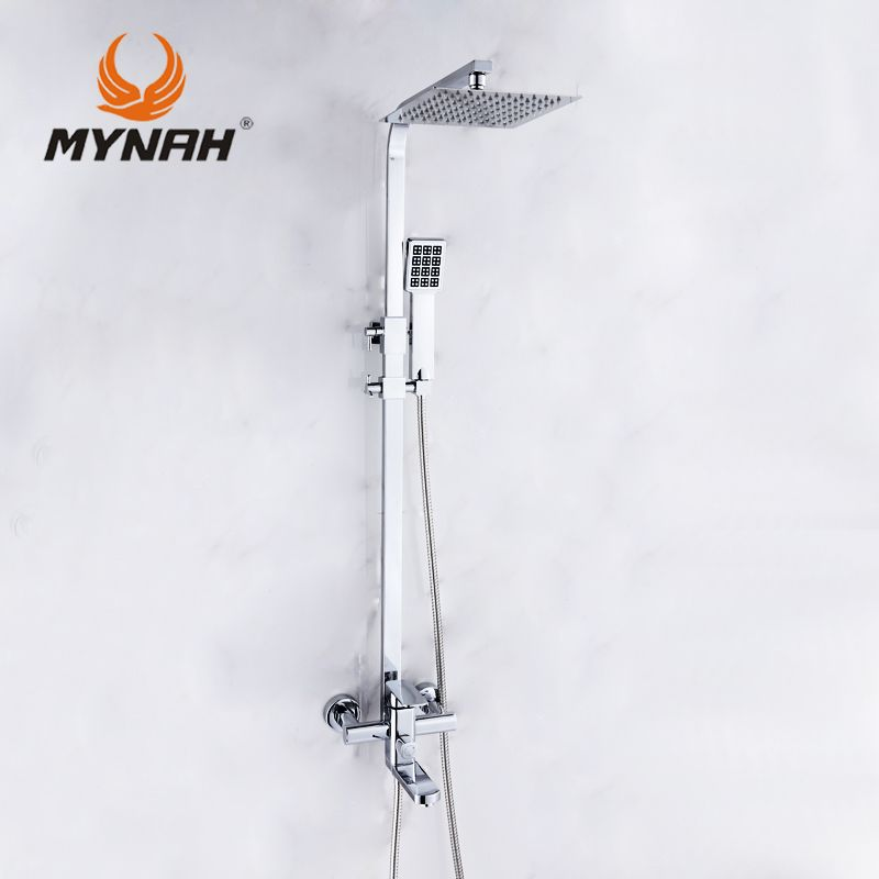 MYNAH Wall Mount Rainfall Shower Head +Hand shower Luxury Shower Faucet Mixer Hand bathroom shower set tap 3304