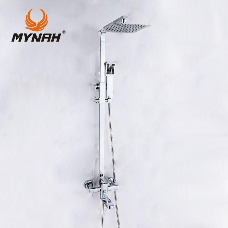 MYNAH Wall <font><b>Mount</b></font> Rainfall Shower Head +Hand shower Luxury Shower Faucet Mixer Hand bathroom shower set tap 3304