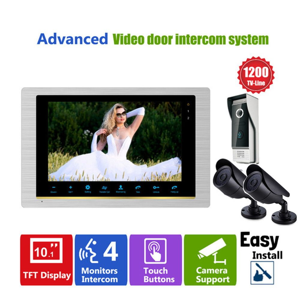 Homefong 10 Inch Video door phone doorbell camera intercom system with CCTV Security camera 1200TVL Day/Night Vision HD