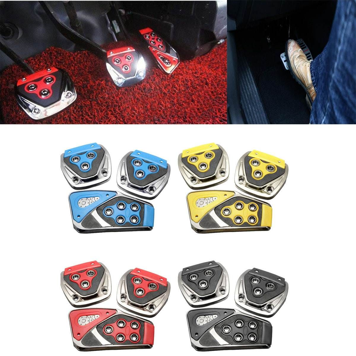 3Pcs/Set Non Slip Manual Brake Transmission Car Pedal Cover Clutch Accelerator Pad Blue Red Black Yellow