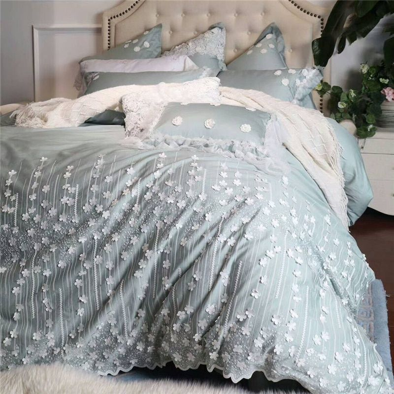 4/6/7Pcs Egypt cotton Princess Luxury Bedding Set Handmade Applique lace Duvet cover set Bed Sheet Pillowcases Queen King Size